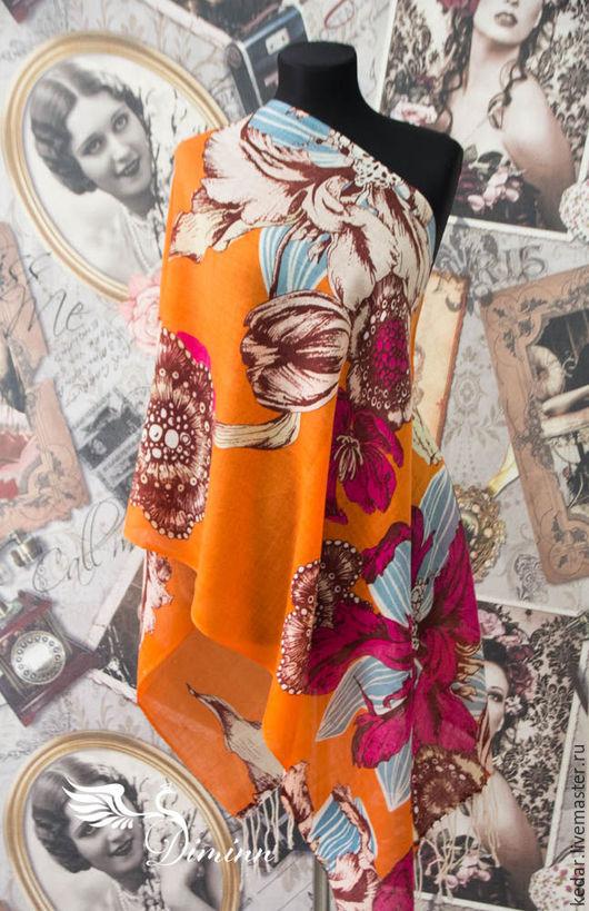 """Шали, палантины ручной работы. Ярмарка Мастеров - ручная работа. Купить Шерстяной женский  палантин DIMINN """"Flora"""" оранжевый. Handmade."""
