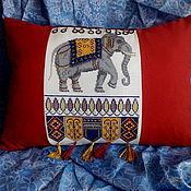 """подушка декоративная вышитая диванная """"Индийский слон"""""""