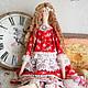 Куклы Тильды ручной работы. Ярмарка Мастеров - ручная работа. Купить Эмили - кукла в стиле тильда. Handmade. Ярко-красный