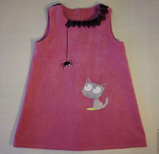 Одежда для девочек, ручной работы. Ярмарка Мастеров - ручная работа. Купить Детское платье сарафан с котенком. Handmade. Розовый