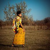 Одежда handmade. Livemaster - original item Yellow Ethnic Ornamented Wraparound Skirt «Sandy». Handmade.