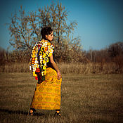 Одежда handmade. Livemaster - original item Yellow Ethnic Ornamented Wraparound Skirt. Handmade.