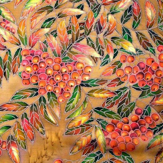 Платок батик `Рябина` (фрагмент росписи)