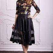 Одежда handmade. Livemaster - original item Skirt with transparent inserts, black satin skirt. Handmade.