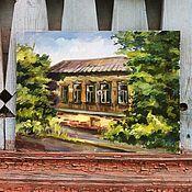Картины и панно ручной работы. Ярмарка Мастеров - ручная работа Этюд дома маслом. Handmade.