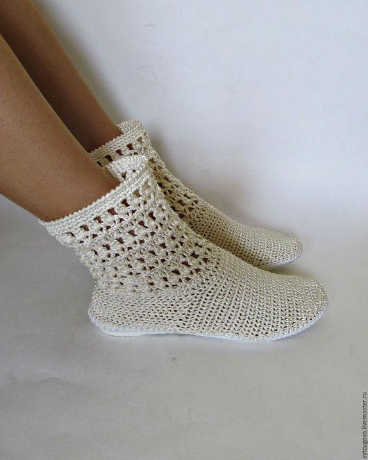 Обувь ручной работы. Ярмарка Мастеров - ручная работа. Купить Вязаные сапожки летние...Элегант. Handmade. Бежевый, Сапожки, белый