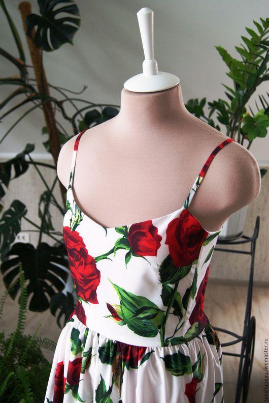 """Платья ручной работы. Ярмарка Мастеров - ручная работа. Купить Платье """"Акварельные розы"""". Handmade. Белый, бельевой стиль, хлопок"""
