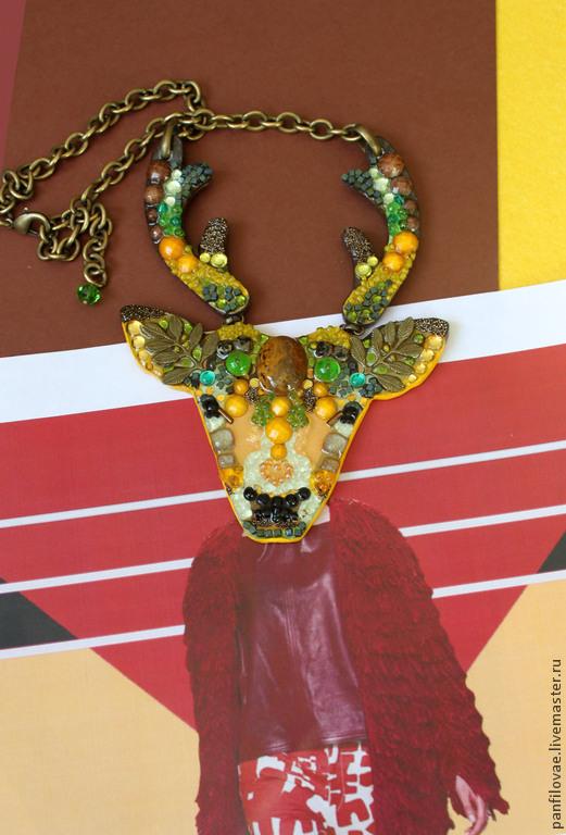 Колье, бусы ручной работы. Ярмарка Мастеров - ручная работа. Купить Лесной олень. Handmade. Оливковый, рога, украшение на шею