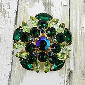 Винтаж handmade. Livemaster - original item Beautiful Vintage Rhinestone Brooch Emerald & Peridot Green. Handmade.