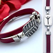 Украшения handmade. Livemaster - original item Bracelet with rune of Algiz, silver, runic leather bracelet 2 turns. Handmade.