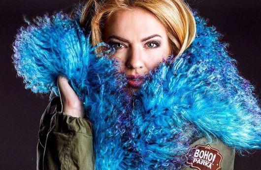 Верхняя одежда ручной работы. Ярмарка Мастеров - ручная работа. Купить Куртка парка на меховой подстежке (мех голубой с фиолетовым). Handmade.