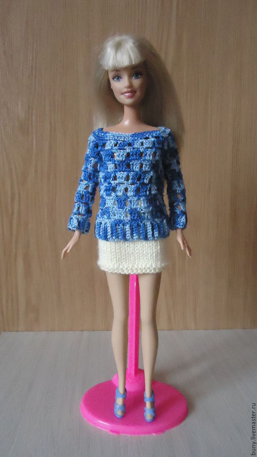"""Одежда для кукол ручной работы. Ярмарка Мастеров - ручная работа. Купить Ажурная кофточка """" Морская """". Handmade. Комбинированный"""