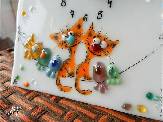 """Часы для дома ручной работы. Ярмарка Мастеров - ручная работа. Купить Настольные часы """"Котокляксы"""". Handmade. Рыжий, любовь"""
