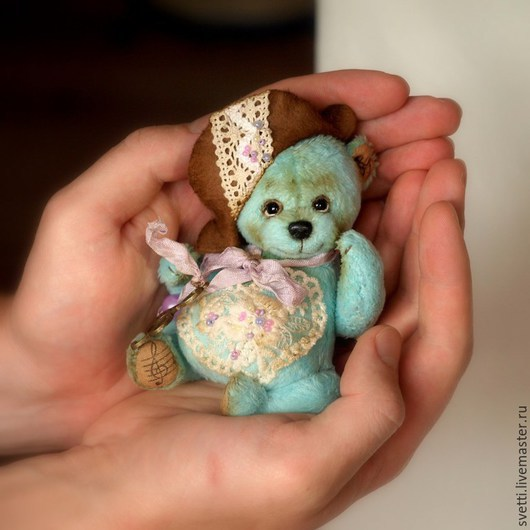 Мишки Тедди ручной работы. Ярмарка Мастеров - ручная работа. Купить Маленький Бах (12,5 см). Handmade. Бирюзовый