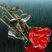 Украшения ручной работы. Ярмарка Мастеров - ручная работа Брошь с бутоном розы лэмпворк. Handmade.