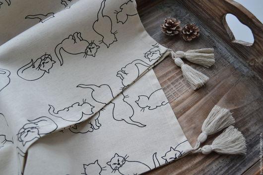 """Текстиль, ковры ручной работы. Ярмарка Мастеров - ручная работа. Купить Льняная скатерть, кухонная скатерть с кистями """"Кошки"""". Handmade."""