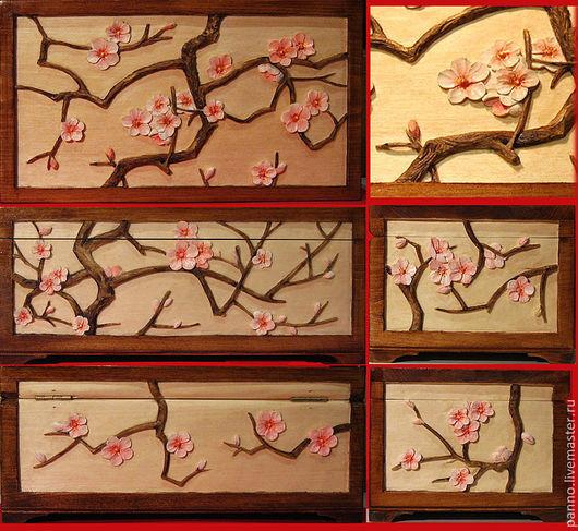 Шкатулки ручной работы. Ярмарка Мастеров - ручная работа. Купить Сакура розовая - Чайная шкатулка резная. Handmade. Япония