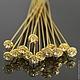 Пины длинные 54 мм с шляпкой украшенной ювелирной стразой и покрытием имитирующим золото для сборки украшений комплектами по 10 штук