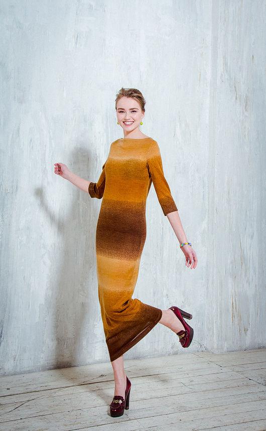Платья ручной работы. Ярмарка Мастеров - ручная работа. Купить Африканский закат - трикотажное платье. Handmade. Коричневый, платье по фигуре