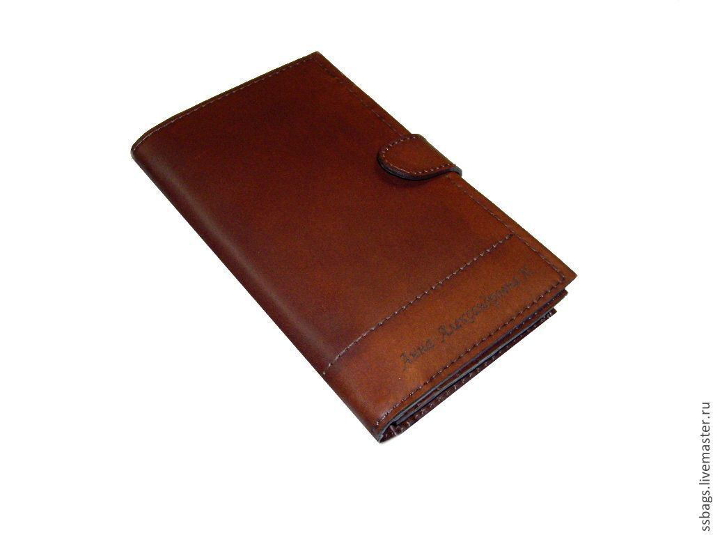 Purse-clutch bag made from Italian brown genuine leather, Wallets, St. Petersburg,  Фото №1