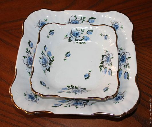 Винтажная посуда. Ярмарка Мастеров - ручная работа. Купить Набор из двух фарфоровых салатниц с голубыми розами, Германия. Handmade. Голубой