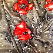 Аксессуары ручной работы. Ярмарка Мастеров - ручная работа Батик. Платок Маки красные. Handmade.