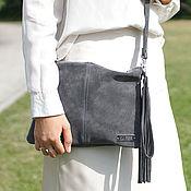 Сумки и аксессуары handmade. Livemaster - original item Crossbody Bag Suede Crossbody Bag Clutch Small with Strap. Handmade.