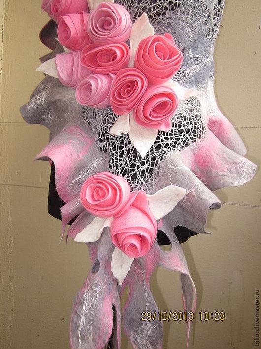 """Шали, палантины ручной работы. Ярмарка Мастеров - ручная работа. Купить Шаль-палантин """"Джульетта"""". Handmade. Розовый, палантин валяный"""