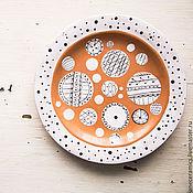 Посуда handmade. Livemaster - original item Cute circles. A plate of food, red clay.. Handmade.
