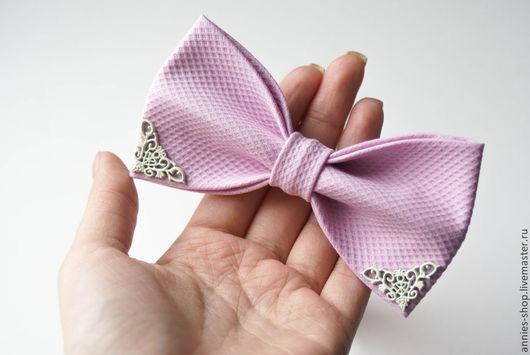 Галстуки, бабочки ручной работы. Ярмарка Мастеров - ручная работа. Купить Галстук-бабочка розовый с уголками. Handmade. Кремовый, узор