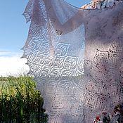handmade. Livemaster - original item Shawls: Down shawl with beads pink and lilac. Handmade.