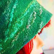 """Аксессуары ручной работы. Ярмарка Мастеров - ручная работа Шапка шерстяная с шелком """" Изумруд чистой воды"""". Handmade."""