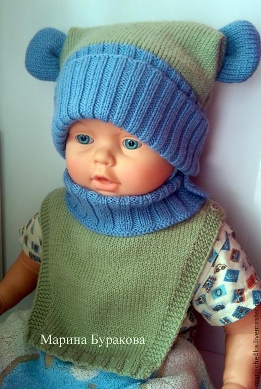 Шапки и шарфы ручной работы. Ярмарка Мастеров - ручная работа. Купить Комплект шапочка с ушками, манишка и варежки. Handmade.