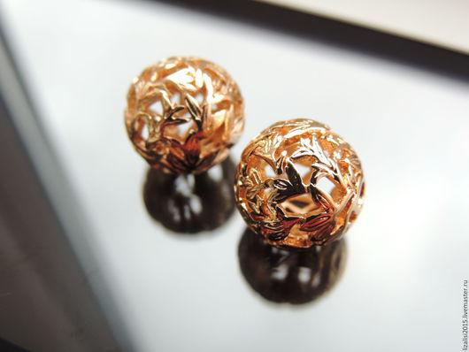 Для украшений ручной работы. Ярмарка Мастеров - ручная работа. Купить Бусина шар 14мм позолота Южная Корея. Handmade.