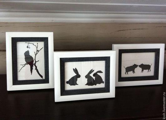 """Животные ручной работы. Ярмарка Мастеров - ручная работа. Купить """" Всё о любви""""  Триптих   картины. Handmade. Чёрно-белый"""
