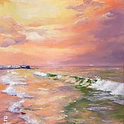 """Картины и панно ручной работы. Ярмарка Мастеров - ручная работа Пейзаж """"Розовый закат над морем"""". Handmade."""