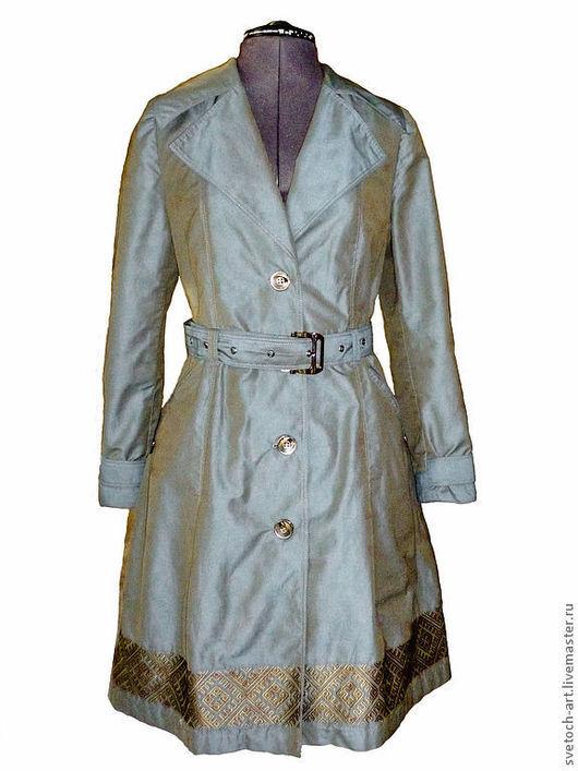 Этническая одежда ручной работы. Ярмарка Мастеров - ручная работа. Купить Плащ с обережной вышивкой. Handmade. Тёмно-синий, пэ