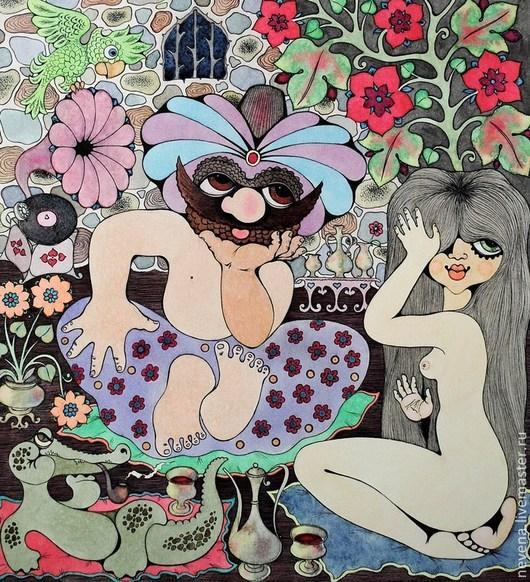 Этно ручной работы. Ярмарка Мастеров - ручная работа. Купить Цветок Востока. Handmade. Сиреневый, картина, рисунок пером, тушь