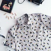 Одежда ручной работы. Ярмарка Мастеров - ручная работа Рубашка женская из хлопка с принтом туканы. Handmade.