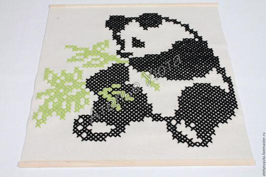 """Животные ручной работы. Ярмарка Мастеров - ручная работа. Купить Панно """"Панда"""". Handmade. Комбинированный, вышивка, 100% шерсть меринос"""