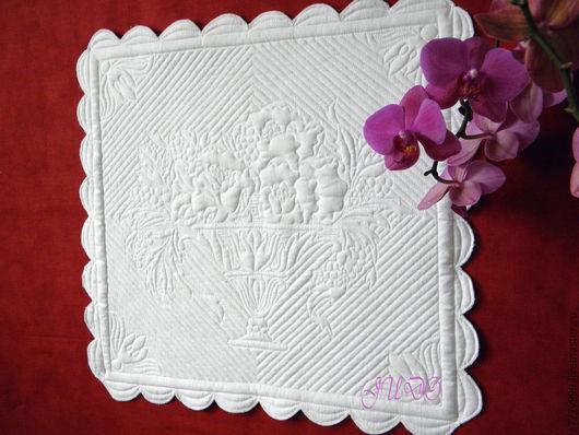 """Текстиль, ковры ручной работы. Ярмарка Мастеров - ручная работа. Купить трапунто в технике бути """"Весенний букет"""". Handmade. Белый"""