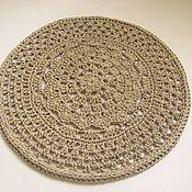 Для дома и интерьера handmade. Livemaster - original item Round rug, knitted from cotton yarn in Beige openwork. Handmade.