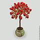 Дерево из коралла `Аура` в вазочке из оникса