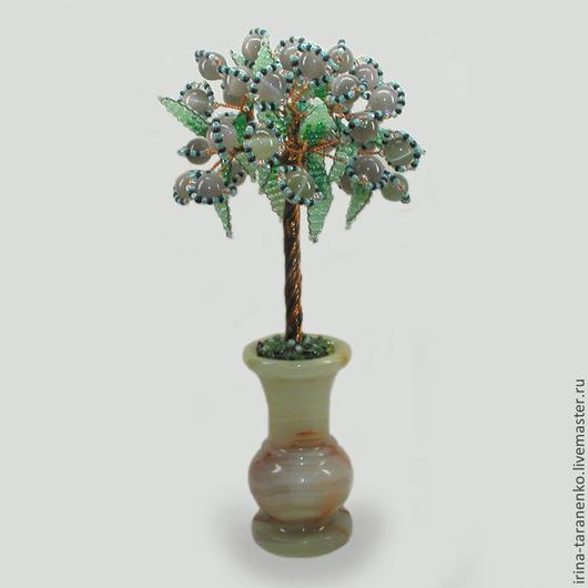 Дерево из кошачьего глаза `На счастье` в вазочке из оникса