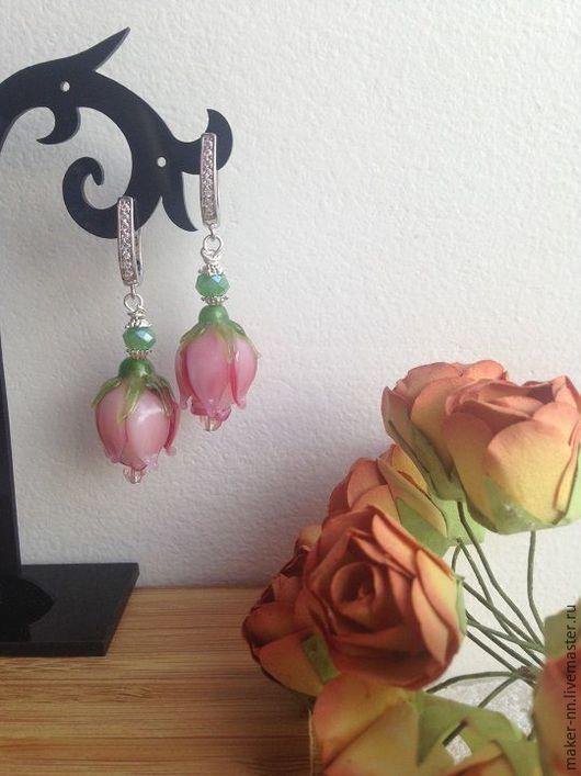 """Серьги ручной работы. Ярмарка Мастеров - ручная работа. Купить Серьги """"Розы в саду""""с  бусинами лэмпворк. Handmade. Комбинированный"""