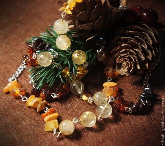 Браслеты ручной работы. Ярмарка Мастеров - ручная работа. Купить Янтарные браслеты. Handmade. Браслет, рутиловый кварц