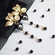Украшения handmade. Livemaster - original item Earrings with black spinel, gold leaves, carnations, poussettes. Handmade.