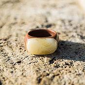 Украшения handmade. Livemaster - original item Elegant wooden ring with landscape amber. Handmade.