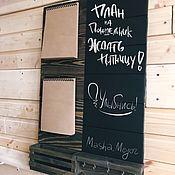 Ключницы ручной работы. Ярмарка Мастеров - ручная работа Ключница настенная грифельная доска и блокноты. Handmade.