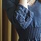 Чтобы лучше рассмотреть модель, нажмите на фото CUTE-KNIT Ната Онипченко Ярмарка мастеров Купить синюю кофточку вязаную